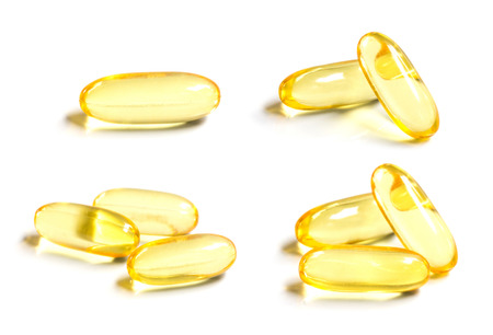 Set of Omega 3 capsules from Fish Oil on white background Stock Photo