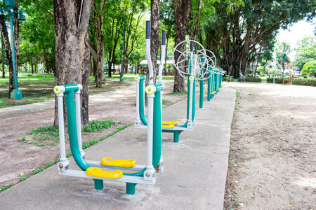 fitness equipment in public park Stock Photo