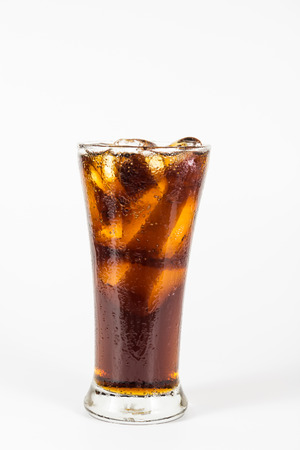 Cola with ice in a glass  photo