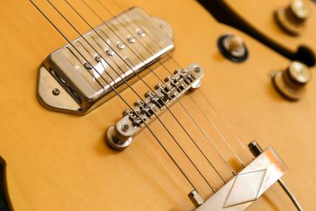 jazz time: Yellow body guitar close up