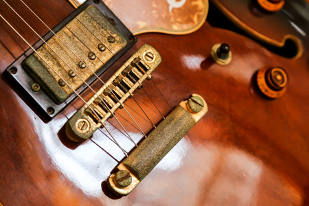 jazz time: Old brown guitar Stock Photo