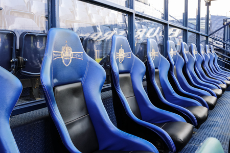 buriram: Seats for footballers in IMobile stadium of Buriram United on 6 April 2015 Buriram Province of Thailand. It was prepared for a big match: Buriram United vs. GAMBA OSAKA on Tuesday 7 April 2015. Editorial