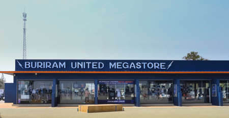 stated: The Megastore of Buriram United Thunder Castle in the sunny day 6 April 2014. The store is stated near the stadium which called IMobile stadium Buriram province of Thailand. Stock Photo