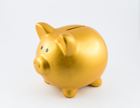A gold pig is looking around to find money to save