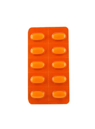 doze: Tablets in orange package Stock Photo