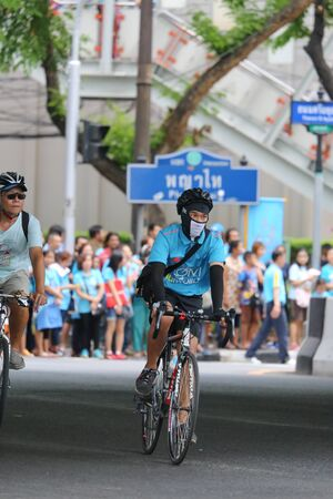 cerebrate: Bangkok, Thailand - 16 August 2015: Bike for Mom, event set by Thai Government to cerebrate birthday of Queen Sirikit. It is a bike cycling in every provinces in Thailand on 16 August 2015. Editorial