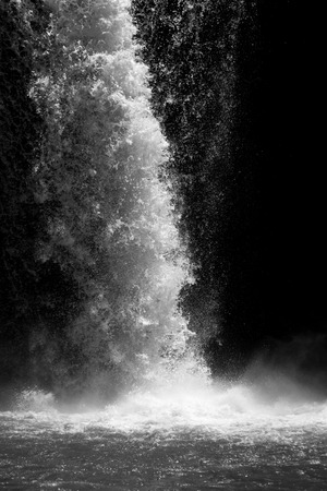 whether: Waterfall in high-speed shutter in black and white.