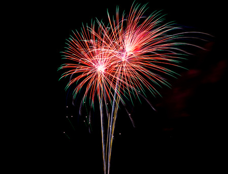 5 december: Colorful fireworks on celebration day of 5 December 2015 Kings birthday in Thailand