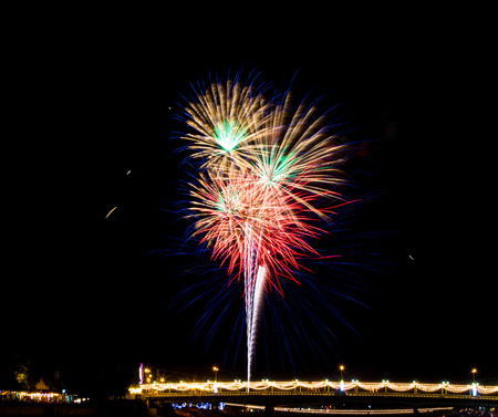 '5 december': Colorful fireworks above bridge on celebration day of 5 December 2015 Kings birthday in Thailand