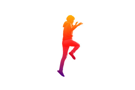 rollick: Girl lifts right leg and hands up in colorful on isolated white background Stock Photo