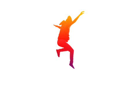 scamper: Girl is jumping and hands up in colorful on isolated white background