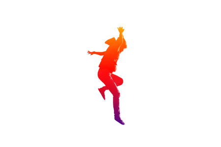 rollick: Girl is jumping and hands up in colorful on isolated white background