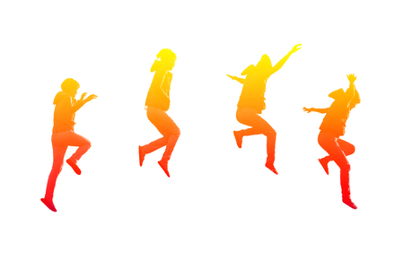 scamper: Four actions of girl jumping in colorful on isolated white background Stock Photo