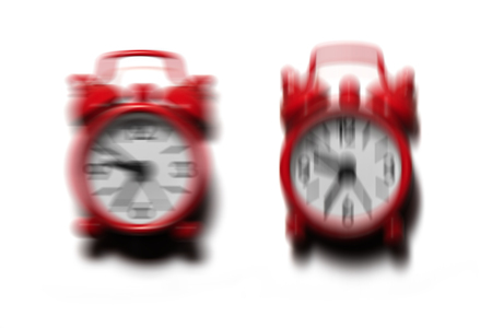 rampage: Two red alarm clocks ringing and shaking in difference direction on isolated white background