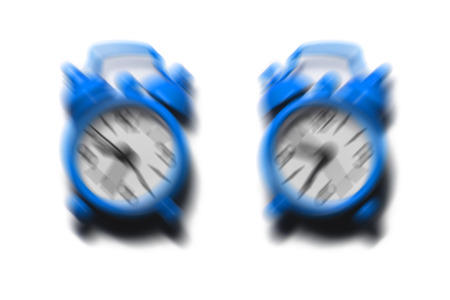 rampage: Two blue alarm clocks ringing and shaking in difference direction on isolated white background