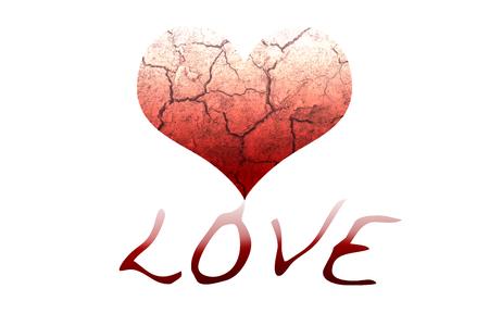 corazon humano: Cracking coraz�n, que la gota de color rojo hacia abajo para ser redacci�n del amor