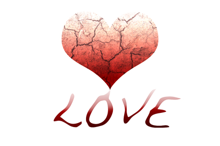 adoration: Cracking heart which red color drop down to be wording of love Stock Photo