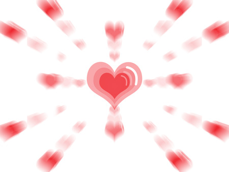 love blast: Big red heart in the center with small hearts expode surround isolated white background Stock Photo