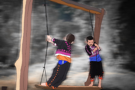 sway: Drawing of two rural boys are playing on hanging bar and swing rope on blurry moving background.