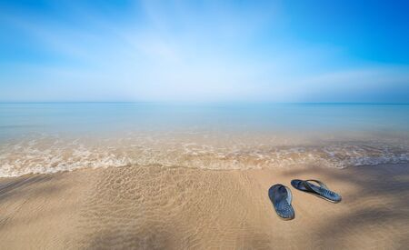 sandal tree: Blue sea, smooth sand, soft wave and bright cloudy blue sky. With a pair of sandal near the shadow of tree.
