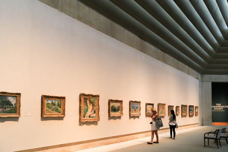 see: New York, USA - May 22, 2014: Exhibition area inside the Metropolitan Museum of Art. People visit and walk around to see the popular arts in the world. Editorial