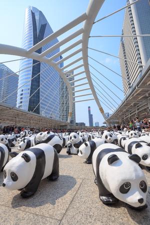 Bangkok, Thailand - March 8, 2016: 1600 paper Mache Pandas campaign showcase at Bangkok by WWF to promote environmental preservation. Editorial