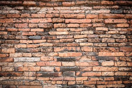 old brick wall: Old dark brown brick wall with crack