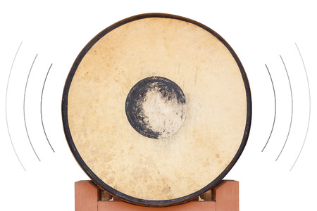 sonorous: Front of the old drum on isolated white background with sound surround Stock Photo