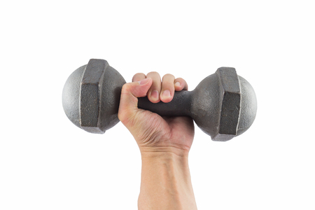 gripping bars: Left hand holding a retro dumbbell isolated on white background Stock Photo