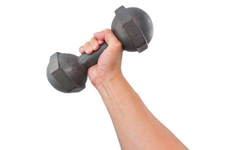 gripping bars: Right hand holding a retro dumbbell isolated on white background Stock Photo
