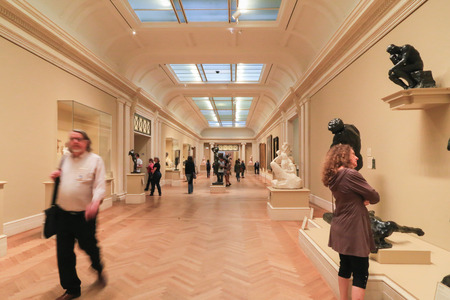 see the usa: New York, USA - May 22, 2014: Exhibition area inside the Metropolitan Museum of Art. People visit and walk around to see the popular arts in the world. Editorial