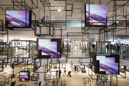 emporium: Bangkok, Thailand - May 29, 2016: Background of see through decoration hanging on each floor of new renovated shopping mall called Siam Discovery in Bangkok.