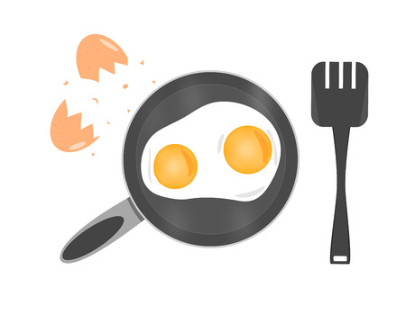 wares: Two cooked eggs in hot frying pan beside with spade and cracked eggshell which isolated on white background