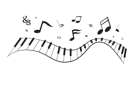 Black curve piano keyboard with floating song notes isolated on white background Illustration
