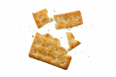 fraction: Square sweet cracker cracking isolated on white background Stock Photo