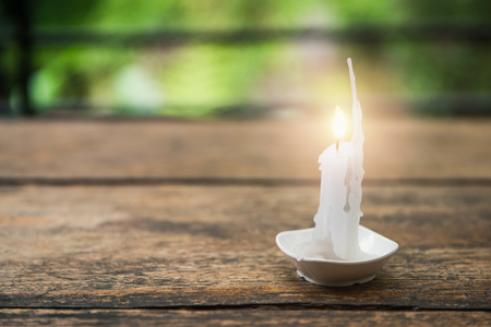 radius: Close focus on bright burning white candle in small cup on wooden table with blurry green background.