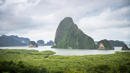 Panorama view of island inside sea near green beach called Samet Nangshe which is attractive place in Phang Nga of Thailand. Stock Photo