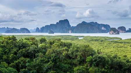 Panorama scene of cloudy day at islands with mangrove forest inside gulf of Phang Nga, Thailand.