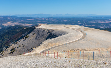 Top of rock mountain Mont Serein Ventoux with panoramic view of Provence, France.