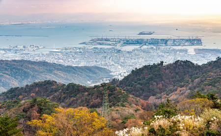 Port of Kobe from Rokko mountain aerial view point covered by changing color trees before sunset. Banco de Imagens
