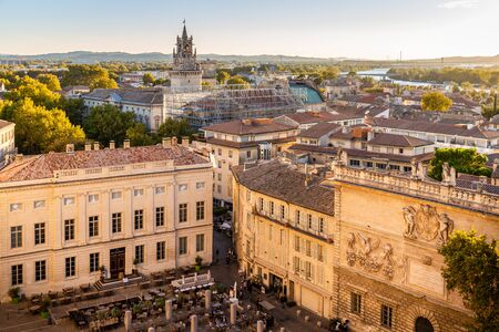Avignon, France - October 3, 2018: Aerial view over old town at sunset of Avignon in Provence region which set on the Rhone river.