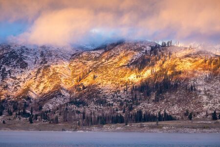 Mountain range covered by snow and cloud at sunrise of Jackson Lake, Grand Teton National Park, Wyoming, USA. Pine trees on mountain surface are dying due to climate changing. Banco de Imagens
