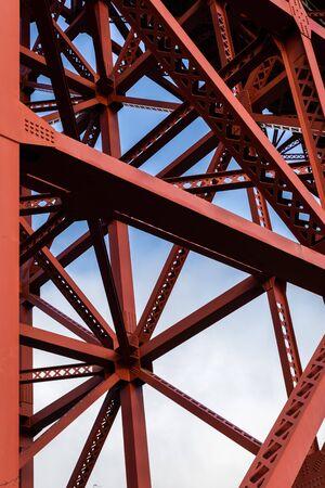 Iron structure under Golden Gate bridge of San Francisco, California, USA. Banco de Imagens