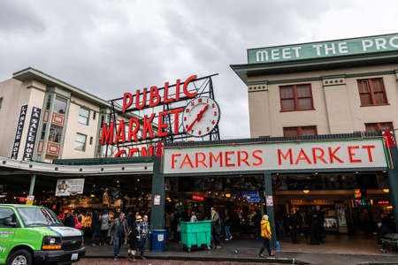 Seattle, Washington, USA - October 9, 2019: In front of public market center of Pike Place market in Seattle, popular place for tourist in Seattle. Editorial