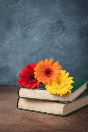 Autumn back to school postcard concept, old book, gerberas, toned