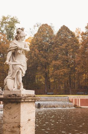 Bavarian Castle Nymphenburg Park, autumn landscape, toned