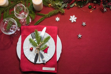Christmas festive table setting, toned