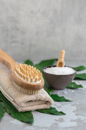 Body spa treatment bamboo brush with bathtowel on green tropical leaf, concrete background Stock Photo