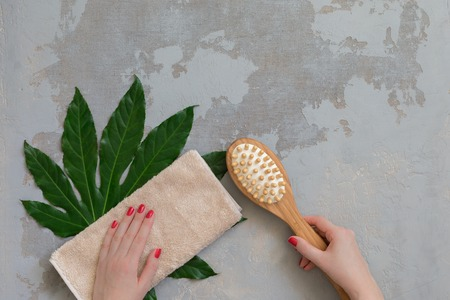zen detox still-life - body spa treatment bamboo brush on green tropical leaf, concrete background Stock Photo