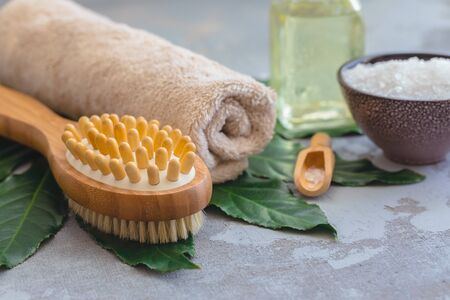 Body spa treatment bamboo brush with bath towel on green tropical leaf, concrete background Banco de Imagens